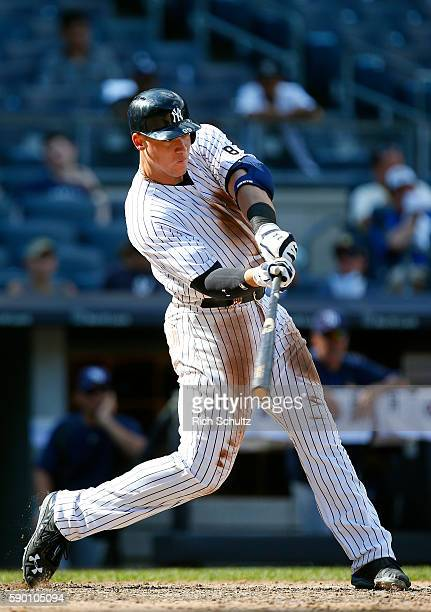 Aaron Judge of the New York Yankees in action against the Tampa Bay Rays during a game at Yankee Stadium on August 14 in the Bronx borough of New...