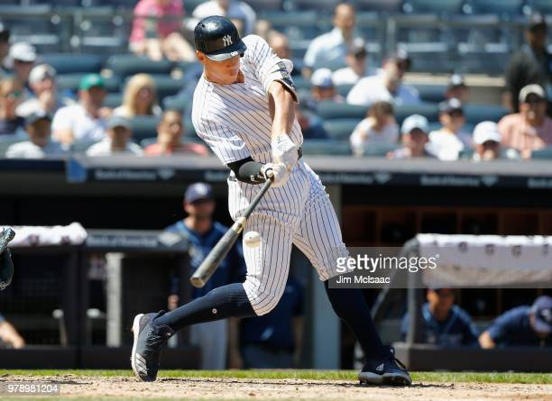 Aaron Judge of the New York Yankees in action against the Tampa Bay Rays at Yankee Stadium on June 16 2018 in the Bronx borough of New York City The...
