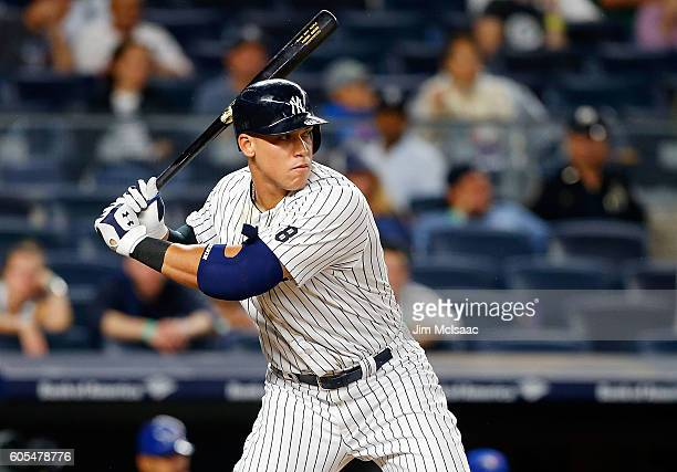 Aaron Judge of the New York Yankees in action against the Toronto Blue Jays at Yankee Stadium on September 6 2016 in the Bronx borough of New York...