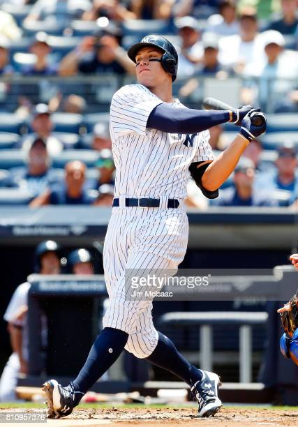Aaron Judge of the New York Yankees in action against the Toronto Blue Jays at Yankee Stadium on July 5 2017 in the Bronx borough of New York City...