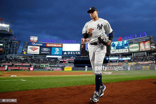 Aaron Judge of the New York Yankees in action against the Toronto Blue Jays during the third inning at Yankee Stadium on April 19 2018 in the Bronx...