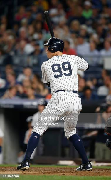 Aaron Judge of the New York Yankees in action during a game against the Boston Red Sox at Yankee Stadium on August 31 2017 in the Bronx borough of...