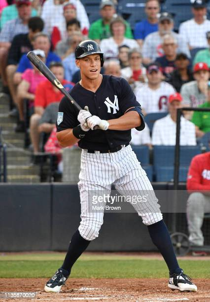 Aaron Judge of the New York Yankees in action during the spring training game against the Philadelphia Phillies at Steinbrenner Field on March 13...