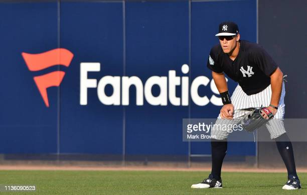 Aaron Judge of the New York Yankees in action during the spring training game against the Baltimore Orioles at Steinbrenner Field on March 12 2019 in...