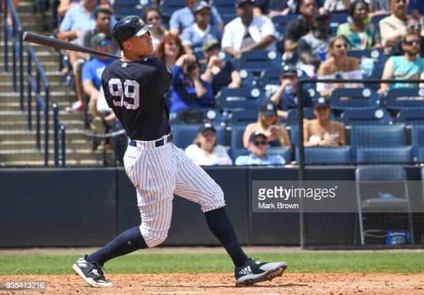 Aaron Judge of the New York Yankees in action during the spring training game between the New York Yankees and the Miami Marlins at George M...