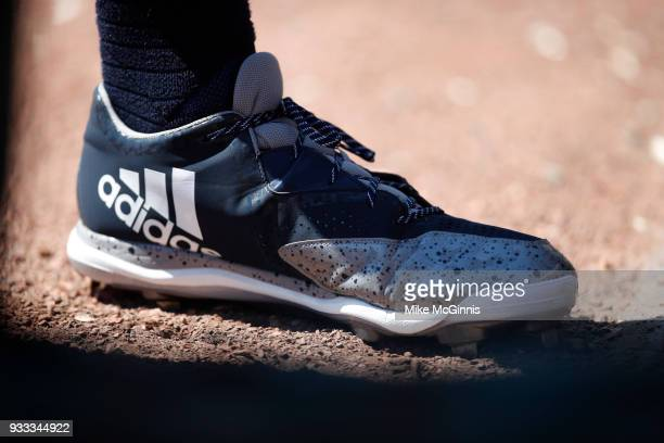 Aaron Judge of the New York Yankees in his Adidas baseball cleats during the Spring Training game against the Baltimore Orioles at Spectrum Field on...