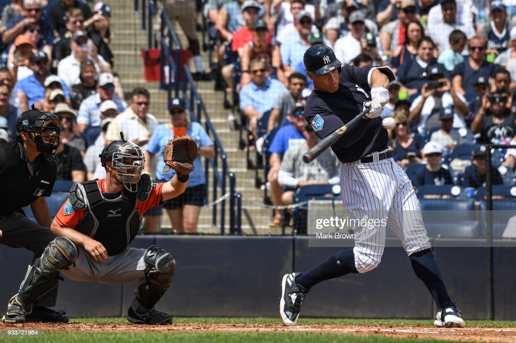 Aaron Judge #99 of the New York Yankees in the first inning during the spring training game between the New York Yankees and the Miami Marlins at George M. Steinbrenner Field on March 18, 2018 in Tampa, Florida.