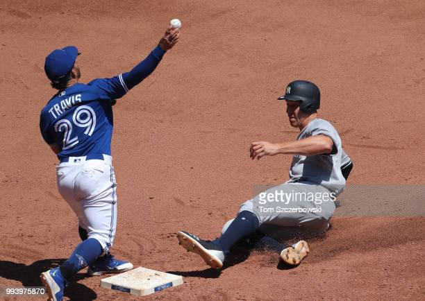 Aaron Judge of the New York Yankees is forced out at second base as he slides in the fifth inning during MLB game action as Devon Travis of the...