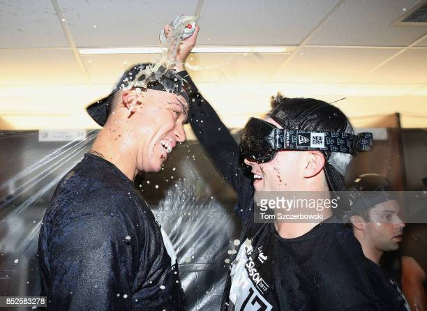 Aaron Judge of the New York Yankees is sprayed as they celebrate their playoffclinching victory during MLB game action against the Toronto Blue Jays...