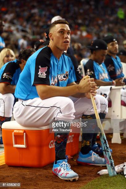 Aaron Judge of the New York Yankees looks on during the 2017 TMobile Home Run Derby at Marlins Park on Monday July 10 2017 in Miami Florida