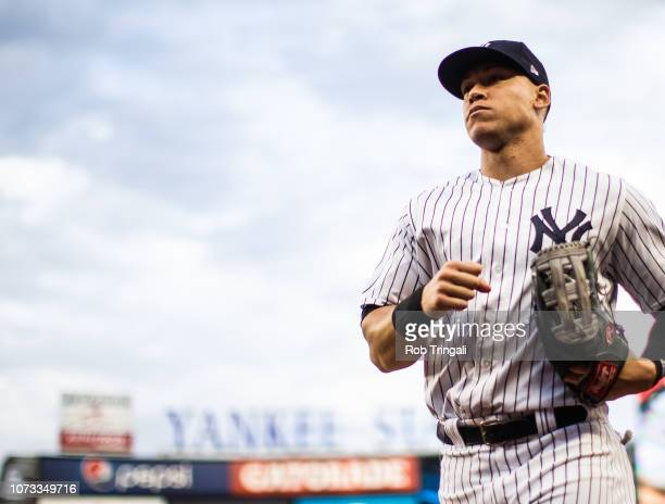 Aaron Judge of the New York Yankees looks on during the game against the Baltimore Orioles at Yankee Stadium on Saturday September 22 2018 in the...