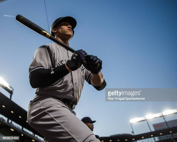 Aaron Judge of the New York Yankees looks on during the game against the Baltimore Orioles at Oriole Park at Camden Yards on May 31 2017 in Baltimore...