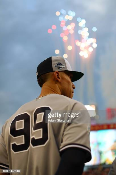 Aaron Judge of the New York Yankees looks on during the pregame ceremony before the 89th MLB AllStar Game at Nationals Park on Tuesday July 17 2018...