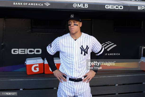 Aaron Judge of the New York Yankees looks on from the dugout prior to Game 3 of the ALCS between the Houston Astros and the New York Yankees at...