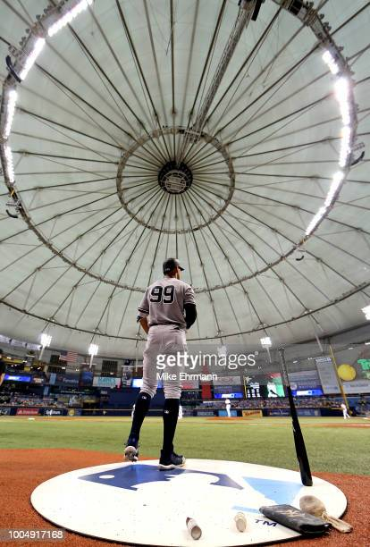 Aaron Judge of the New York Yankees looks on in the first inning during a game against the Tampa Bay Rays at Tropicana Field on July 24 2018 in St...