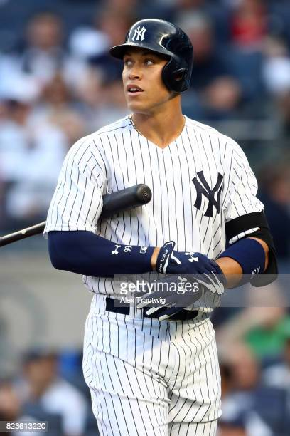 Aaron Judge of the New York Yankees looks on while batting during the game against the Cincinnati Reds at Yankee Stadium on Tuesday July 2017 in the...