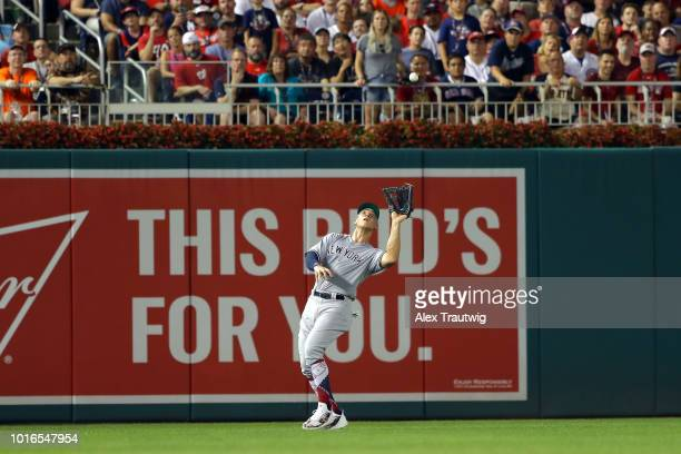 Aaron Judge of the New York Yankees makes a catch during the 89th MLB AllStar Game at Nationals Park on Tuesday July 17 2018 in Washington DC