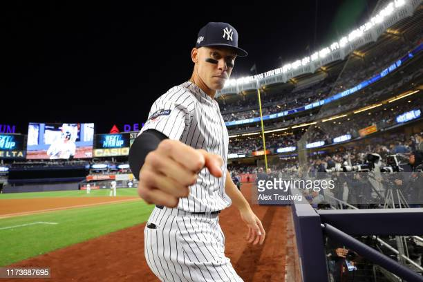 Aaron Judge of the New York Yankees poses for a photo during the ALDS Game 1 between the Minnesota Twins and the New York Yankees at Yankee Stadium...