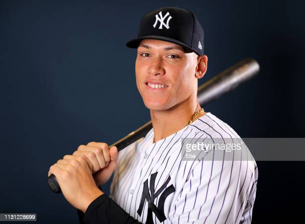 Aaron Judge of the New York Yankees poses for a portrait during the New York Yankees Photo Day on February 21 2019 at George M Steinbrenner Field in...