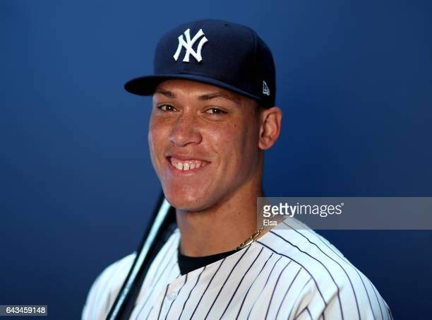 Aaron Judge of the New York Yankees poses for a portrait during the New York Yankees photo day on February 21 2017 at George M Steinbrenner Field in...