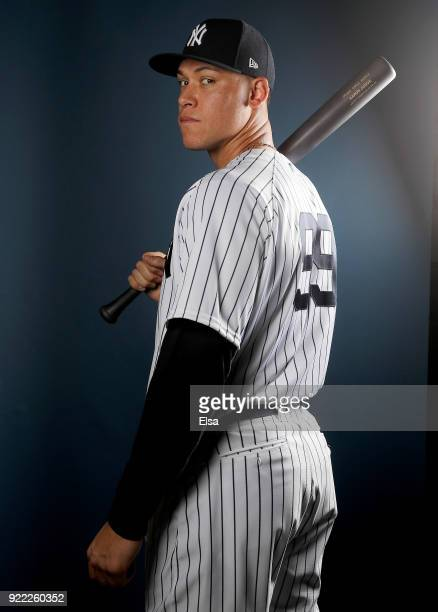 Aaron Judge of the New York Yankees poses for a portrait during the New York Yankees photo day on February 21 2018 at George M Steinbrenner Field in...