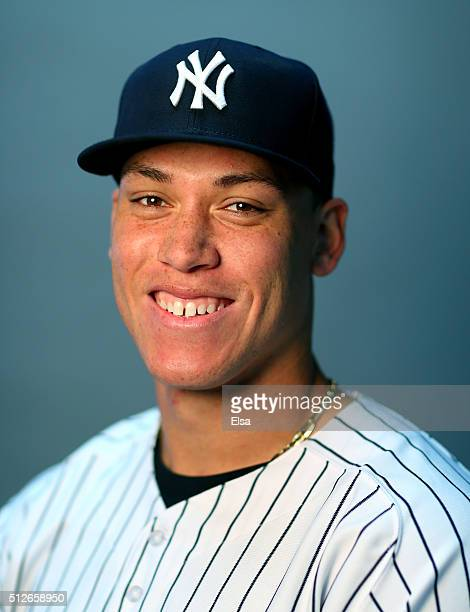 Aaron Judge of the New York Yankees poses for a portrait on February 27 2016 at George M Steinbrenner Stadium in Tampa Florida