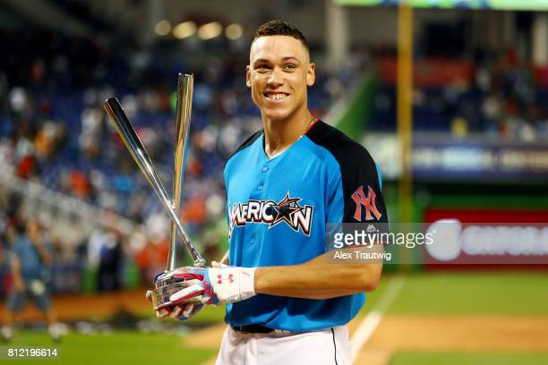 Aaron Judge of the New York Yankees poses with the Home Run Derby trophy after winning the 2017 TMobile Home Run Derby at Marlins Park on Monday July...