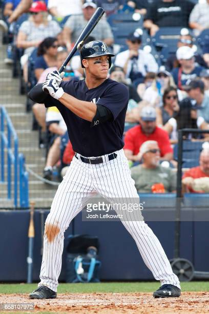 Aaron Judge of the New York Yankees prepares for the pitch during the spring training game between the Tampa Bay Rays and the New York Yankees at...