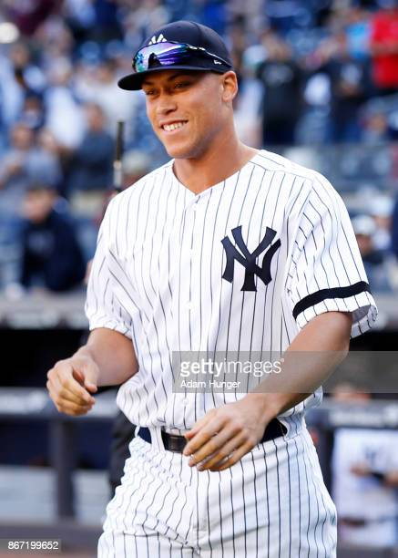 Aaron Judge of the New York Yankees prior to a game against the Toronto Blue Jays at Yankee Stadium on October 1 2017 in the Bronx borough of New...