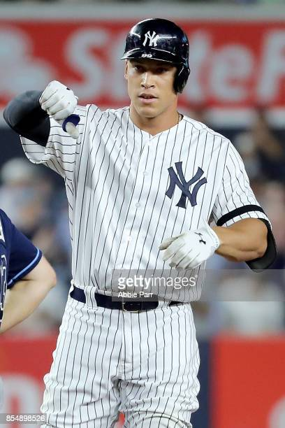 Aaron Judge of the New York Yankees reacts after hitting a go ahead two run double in the fifth inning against the Tampa Bay Rays at Yankee Stadium...