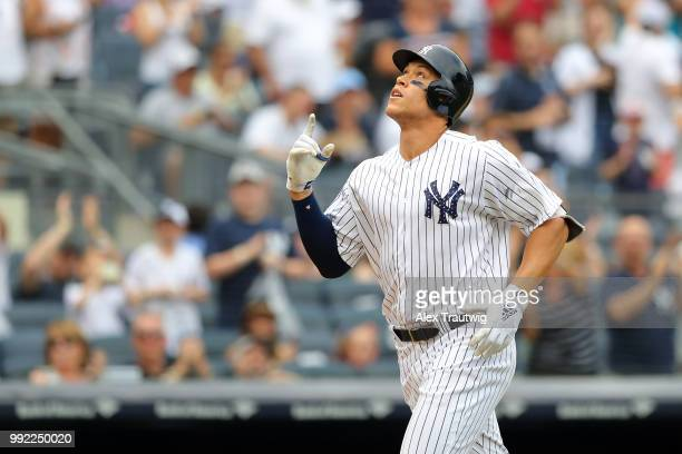 Aaron Judge of the New York Yankees reacts after hitting a home run during a game against the Atlanta Braves at Yankee Stadium on Wednesday July 4...