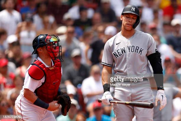 Aaron Judge of the New York Yankees reacts after striking out during the third inning against the Boston Red Sox at Fenway Park on June 27, 2021 in...