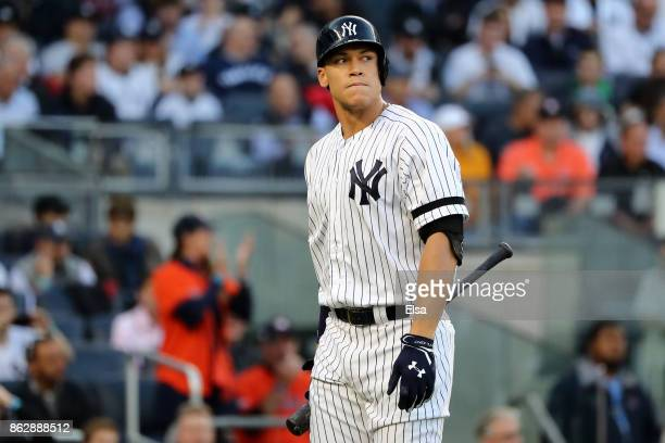 Aaron Judge of the New York Yankees reacts after striking out during the first inning against the Houston Astros in Game Five of the American League...