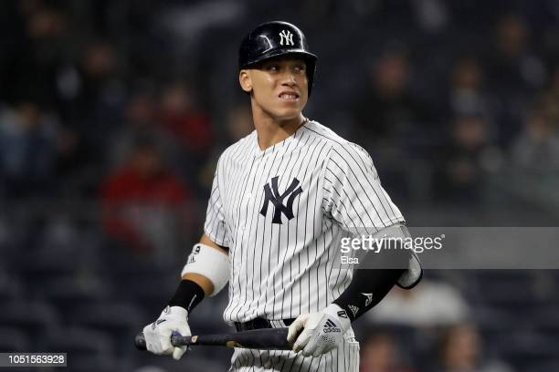 Aaron Judge of the New York Yankees reacts against the Boston Red Sox during the eighth inning in Game Three of the American League Division Series...