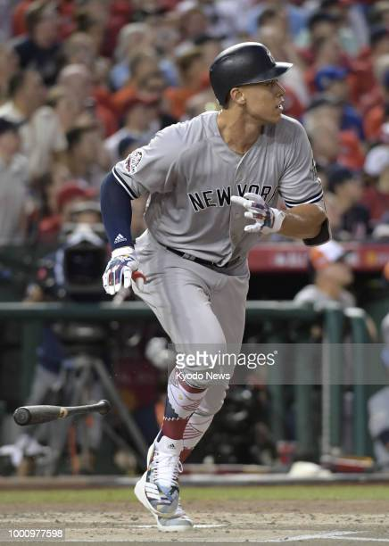Aaron Judge of the New York Yankees runs after hitting a homer during the second inning of the Major League Baseball AllStar Game at Nationals Park...