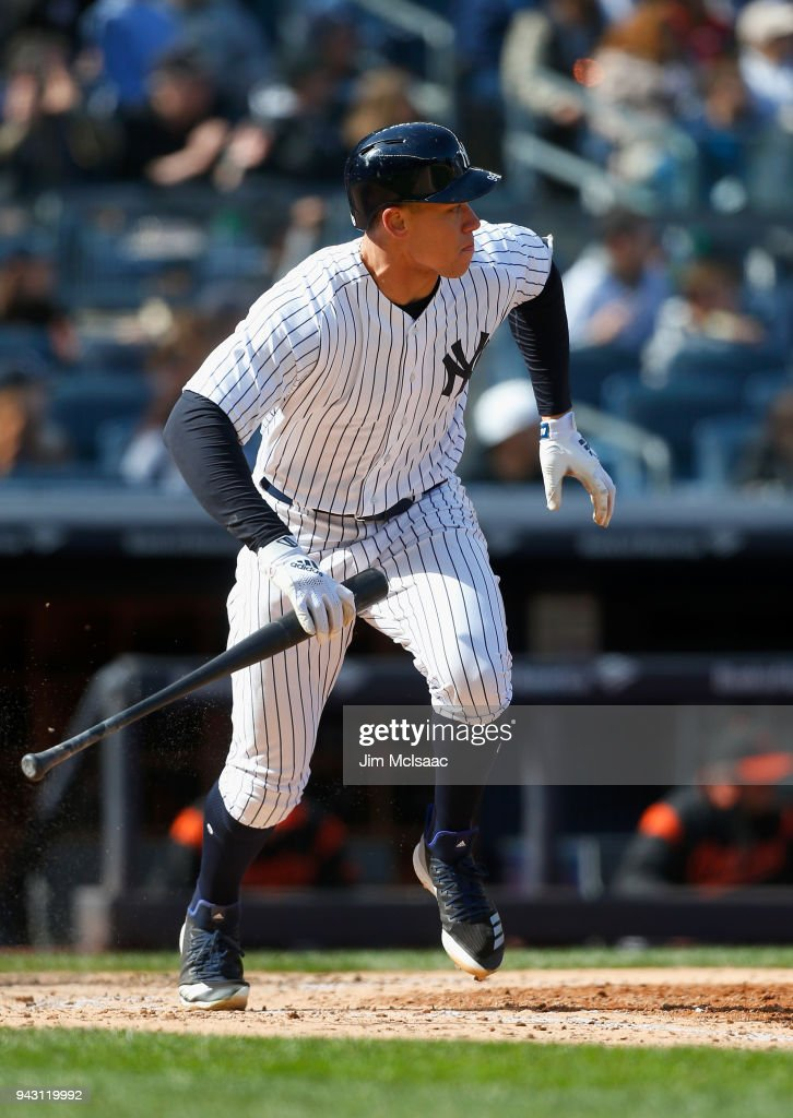Aaron Judge #99 of the New York Yankees runs out a seventh inning RBI double against the Baltimore Orioles at Yankee Stadium on April 7, 2018 in the Bronx borough of New York City.