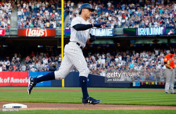 Aaron Judge of the New York Yankees runs the bases after his first inning home run against the Baltimore Orioles at Yankee Stadium on June 10 2017 in...