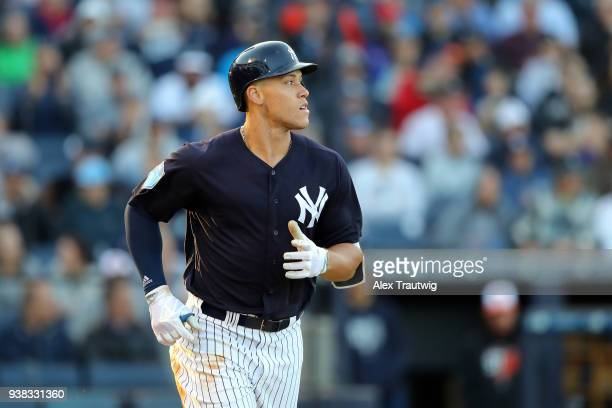 Aaron Judge of the New York Yankees runs to first base during a game against the Baltimore Orioles on Wednesday March 21 2018 at George M...