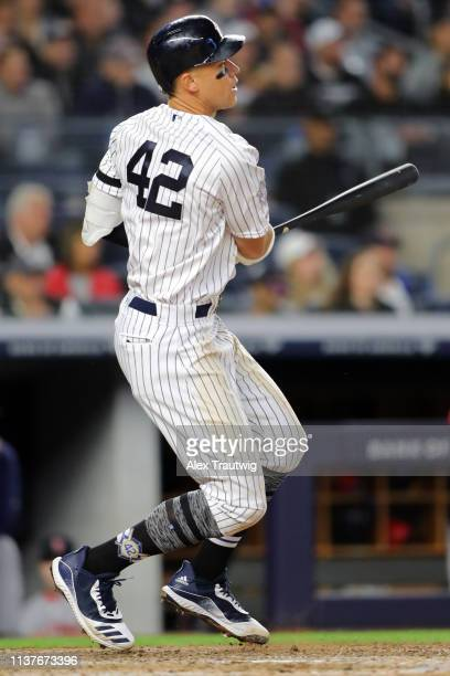 Aaron Judge of the New York Yankees singles in the fifth inning during the game between the Boston Red Sox and the New York Yankees at Yankee Stadium...