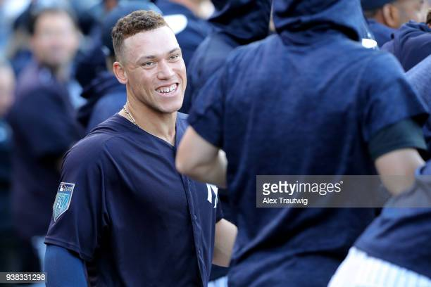 Aaron Judge of the New York Yankees smiles in the dugout during a game against the Baltimore Orioles on Wednesday March 21 2018 at George M...