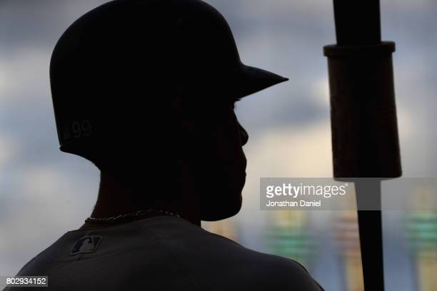 Aaron Judge of the New York Yankees stands in the ondeck circle before batting in the 1st inning against the Chicago White Sox at Guaranteed Rate...