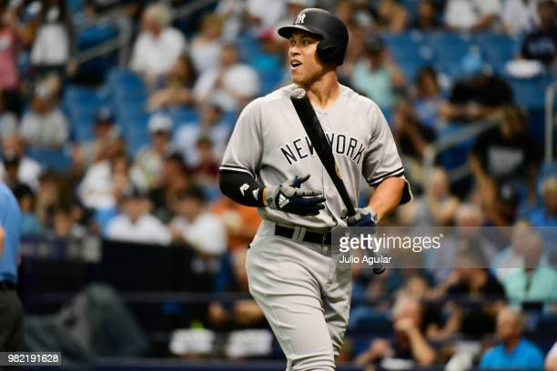 Aaron Judge of the New York Yankees strikes out in the first inning against the Tampa Bay Rays on June 23 2018 at Tropicana Field in St Petersburg...