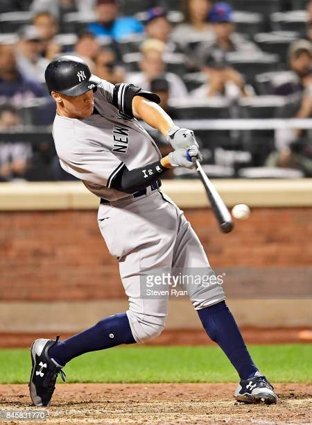 Aaron Judge of the New York Yankees swings at a pitch during the ninth inning against the Tampa Bay Rays at Citi Field on September 11 2017 in the...