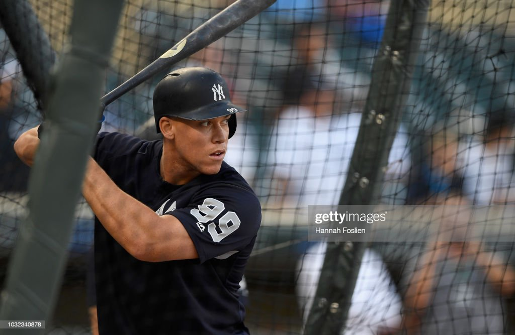 Aaron Judge #99 of the New York Yankees takes batting practice before the game against the Minnesota Twins on September 12, 2018 at Target Field in Minneapolis, Minnesota.