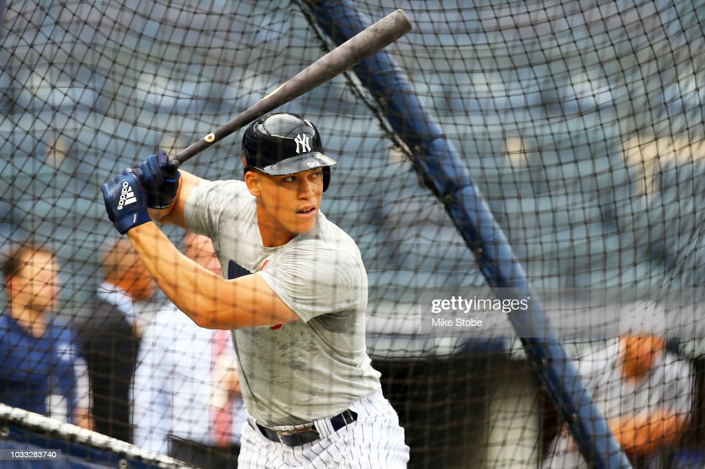 Aaron Judge #99 of the New York Yankees takes batting practice prior to the game against the Toronto Blue Jays at Yankee Stadium on September 14, 2018 in the Bronx borough of New York City.