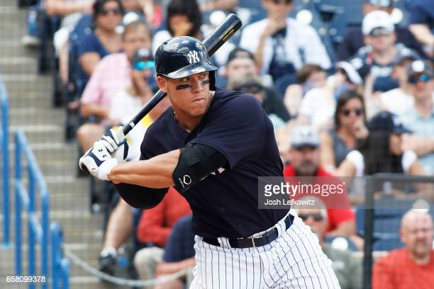 Aaron Judge of the New York Yankees waits for the pitch during the spring training game between the Tampa Bay Rays and the New York Yankees at George...