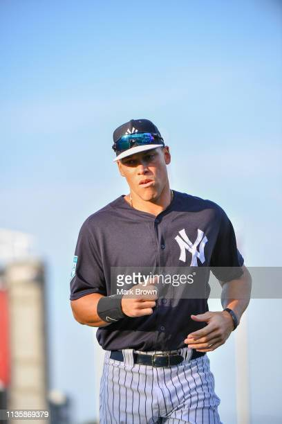 Aaron Judge of the New York Yankees warming up before the spring training game against the Philadelphia Phillies at Steinbrenner Field on March 13...