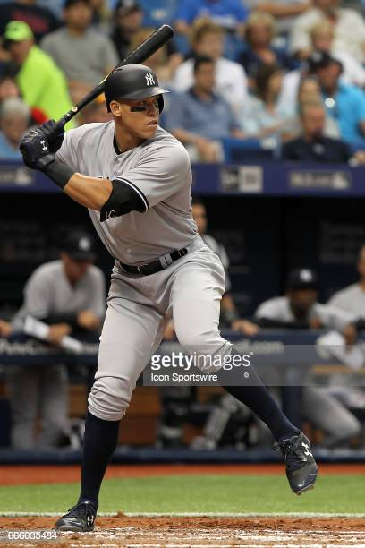 Aaron Judge of the Yankees at bat during the MLB regular season game between the New York Yankees and Tampa Bay Rays on April 2 at Tropicana Field in...
