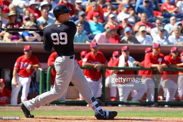Aaron Judge of the Yankees at bat during the spring training game between the New York Yankees and the Philadelphia Phillies on February 25 2017 at...
