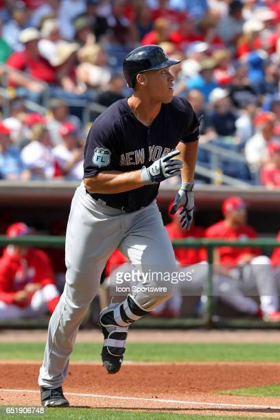 Aaron Judge of the Yankees at bat during the spring training game between the Toronto Blue Jays and the Philadelphia Phillies on March 10 2017 at...